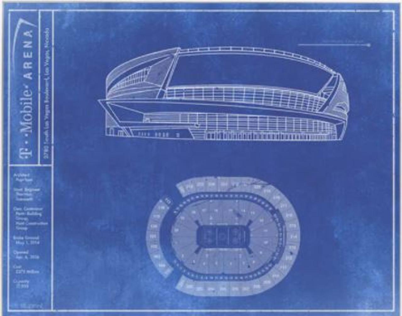 T-Mobile Arena - Vegas Golden Knights Blueprint Poster