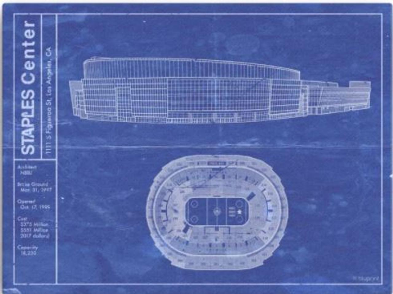 Staples Center - Los Angeles Kings Blueprint Poster