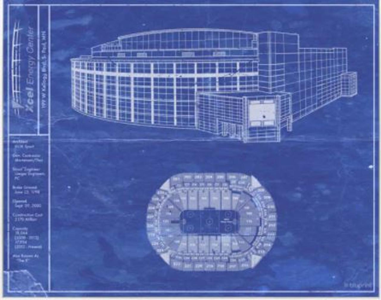 Xcel Energy Center - Minnesota Wild Blueprint Poster