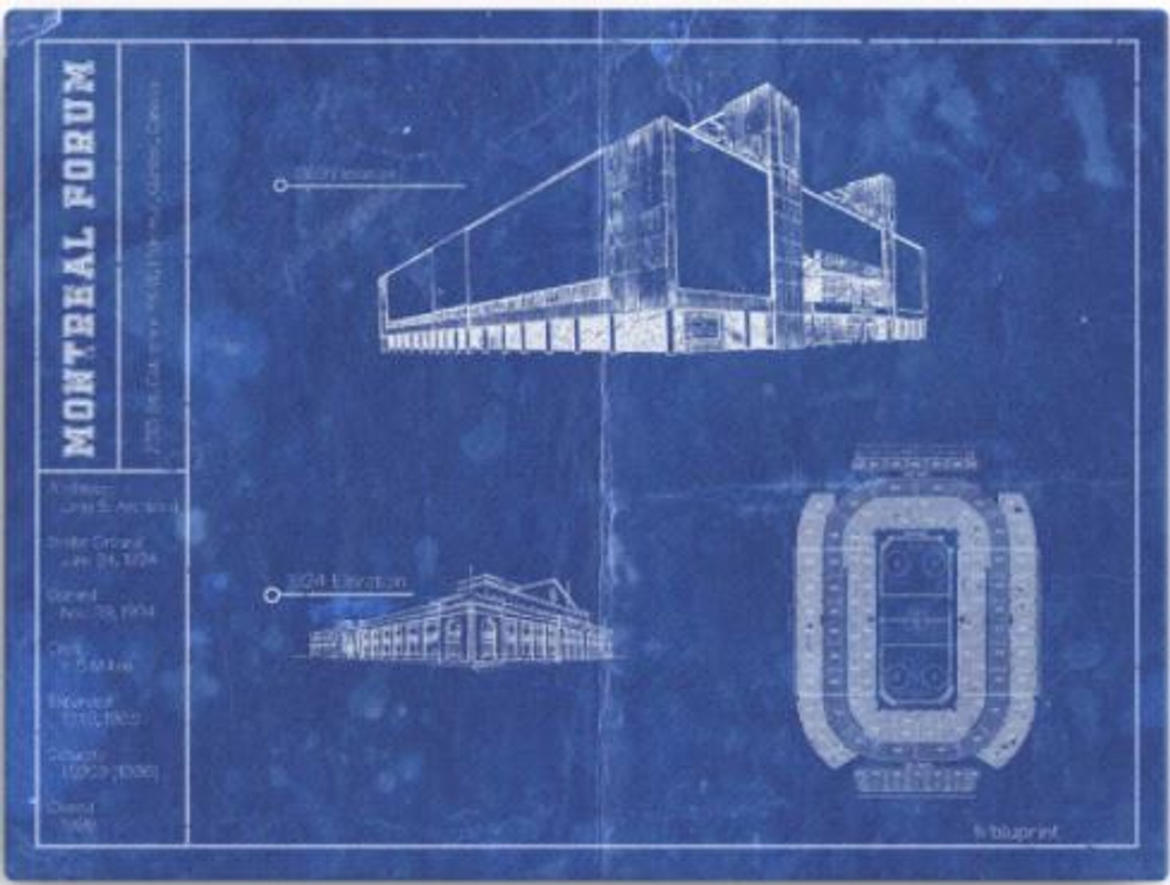Montreal Forum - Montreal Canadians Blueprint Poster