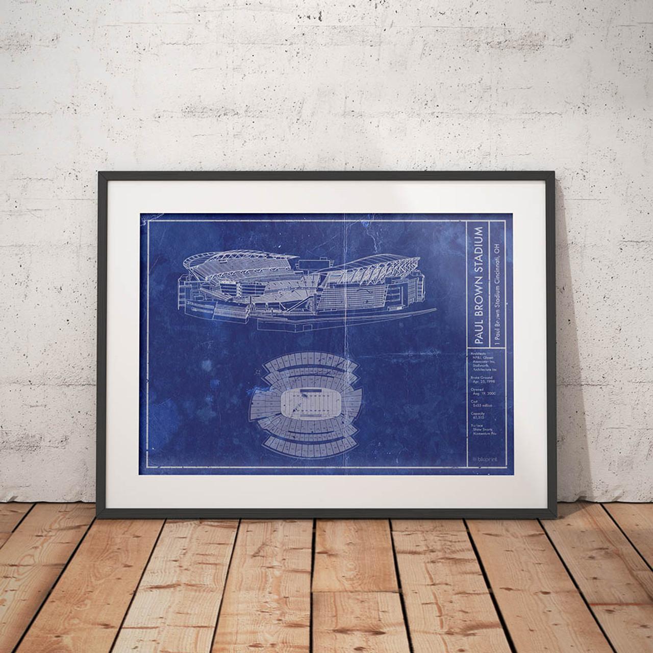 Paul Brown Stadium - Cincinnati Bengals  Blueprint Poster