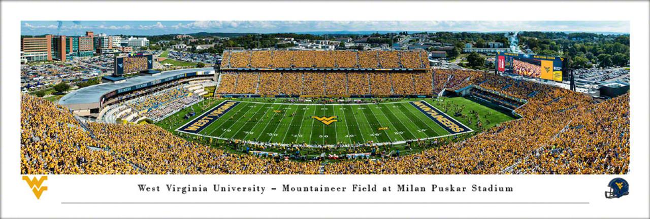 "West Virginia Mountaineers ""Black Diamond Trophy""  Mountaineer Field Panoramic Poster"