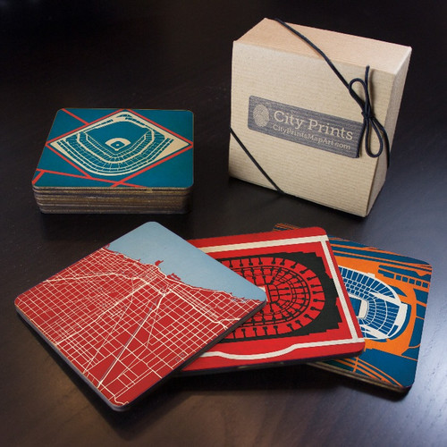 Chicago Sports Teams Wooden Coaster Set