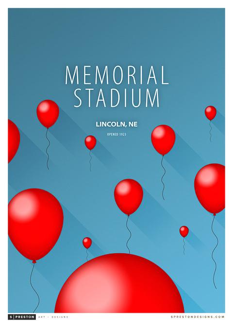 Nebraska Cornhuskers - Memorial Stadium Simple Print