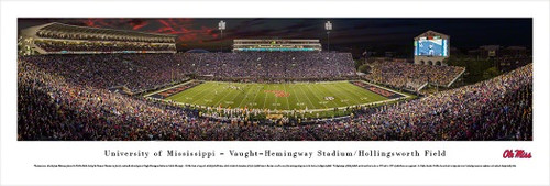 """2014 Ole Miss Rebels"" Vaught Hemingway Stadium Panorama Poster"