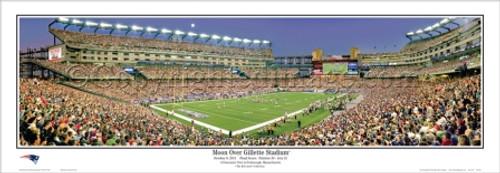 """Moon Over Gillette Stadium"" Patriots Panoramic Poster"