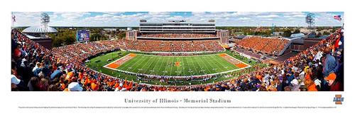 Illinois Fighting Illini at Memorial Stadium Panoramic Poster
