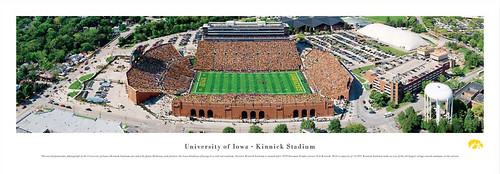 Iowa Hawkeyes At Kinnick Stadium Aerial Panorama Poster