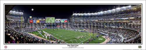 """""""One Yard Line"""" Notre Dame Football at Yankee Stadium Framed Poster"""
