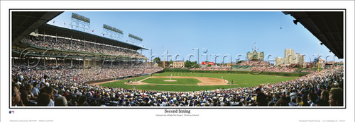 """Batter Up"" Chicago Cubs at Wrigley Field Panoramic Framed Poster"