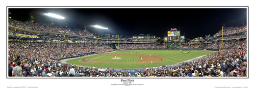 """""""First Pitch"""" Atlanta Braves at Turner Field Panoramic Poster"""