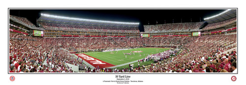 """30 Yard Line"" Alabama at Bryant Denny Stadium Panoramic Poster"