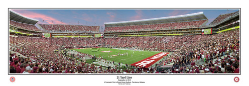 """21 Yard Line"" Alabama at Bryant Denny Stadium Panoramic Poster"