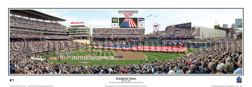 """""""Inaugural Game"""" Minnesota Twins at Target Field Panorama Framed Poster"""