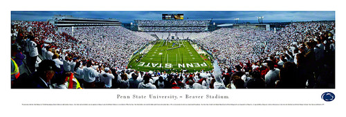 """Endzone"" Penn State Nittany Lions at Beaver Stadium Panorama Poster"
