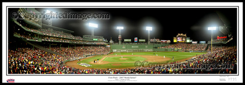 """""""First Pitch 2007 World Series"""" Fenway Park Panoramic Poster"""