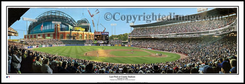 """Last Pitch at County Stadium"" Milwaukee Brewers Panorama Framed Poster"
