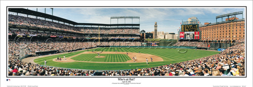 """Who's at Bat"" Cal Ripken Jr. at Camden Yards Panoramic Framed Poster"