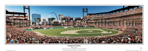 """Inaugural Game"" Cardinals at Busch Stadium Panoramic Framed Poster"