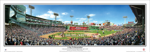 """A Day to Remember"" Red Sox Ring Ceremony Panoramic Framed Poster"