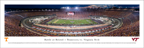 """""""Battle at Bristol"""" Tennessee vs Virginia Tech Panorama Poster"""