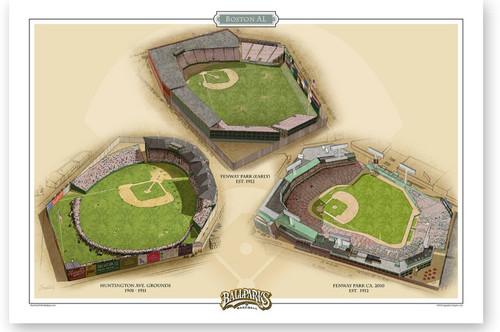 Boston American League Ballparks Print