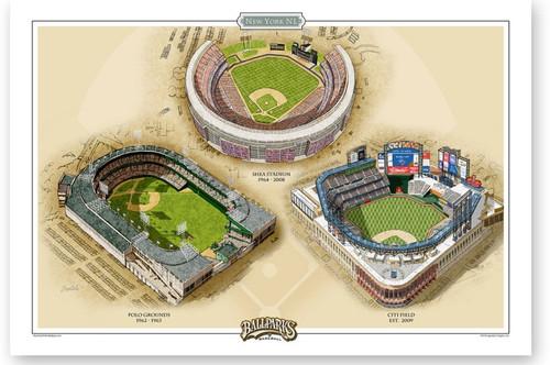 New York Mets Ballparks Print