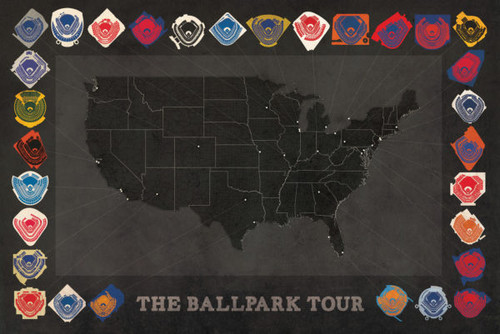 Baseball Ballparks Tour Print