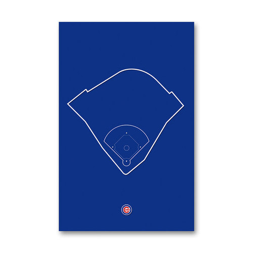 Wrigley Field Outline - Chicago Cubs Art Poster