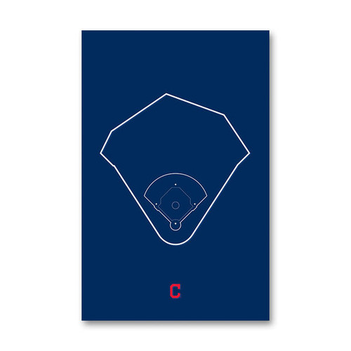 Progressive Field Outline - Cleveland Indians Art Poster