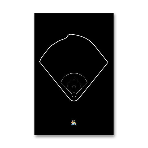 Marlins Park Outline - Miami Marlins Art Poster