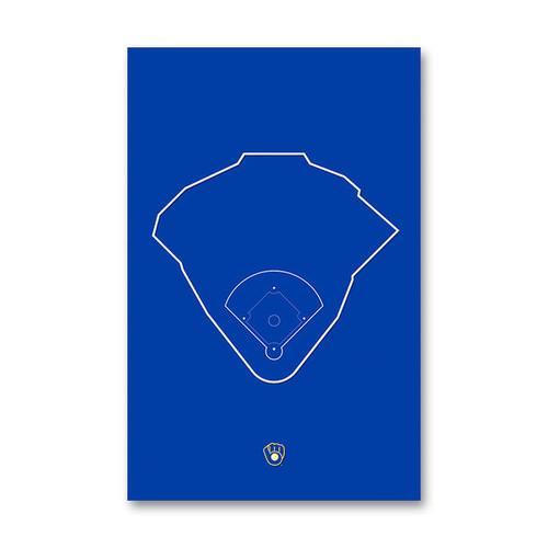 Miller Park Outline - Milwaukee Brewers Art Poster