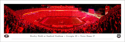"Georgia Bulldogs ""Red Lights"" at Sanford Stadium Panoramic Poster"