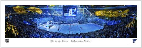 "St. Louis Blues ""Banner Raising"" at the Enterprise Center Panoramic Poster"