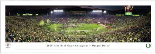 Oregon Ducks 2020 Rose Bowl Game Victory Celebration Panoramic Poster
