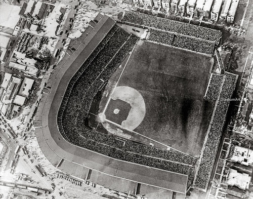 Chicago Cubs at Wrigley Field Vintage Aerial Print