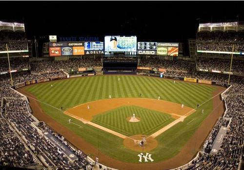 New York Yankees at Yankee Stadium Night Print
