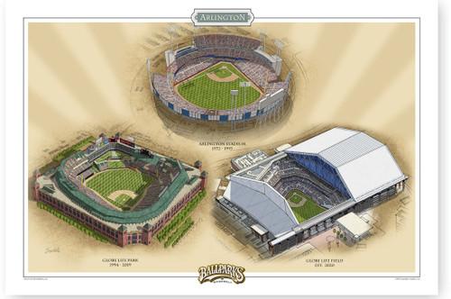 Texas Rangers Ballparks Print -2020