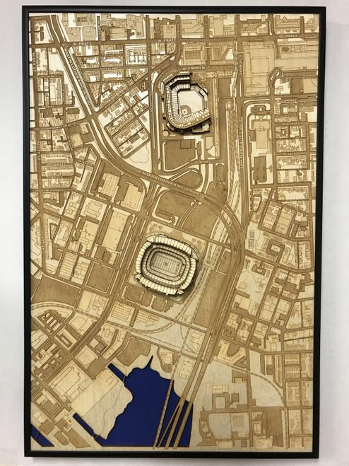 Baltimore, MD City Stadium Map Art