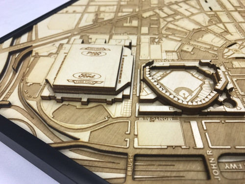 Detroit, MI City Stadium Map Art