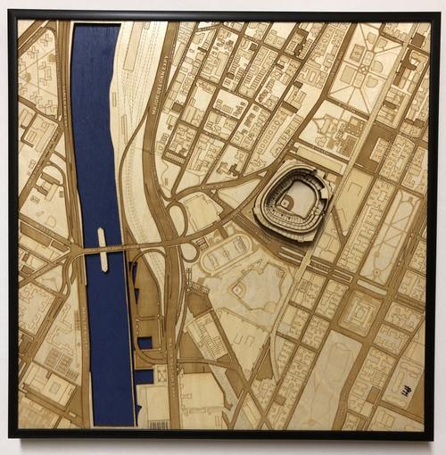 New York, NY Yankee Stadium City Stadium Map Art