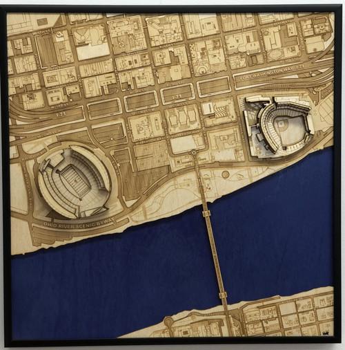 Cincinnati, OH City Stadium Map Art