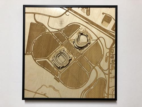 Kansas City, MO City Stadium Map Art