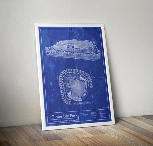 Globe Life Park - Texas Rangers Blueprint Poster