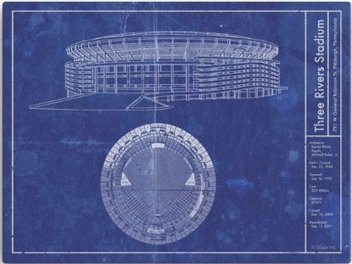 Three Rivers Stadium - Pittsburgh Pirates Blueprint Poster