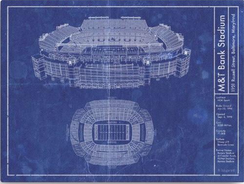 M&T Bank Stadium - Baltimore Ravens Blueprint Poster