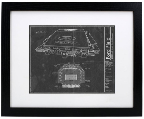 Ford Field - Detroit Lions Blueprint Poster I