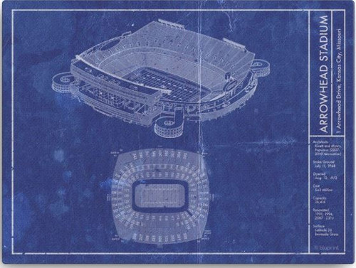 Arrowhead Stadium - Kansas City Chiefs Blueprint Poster