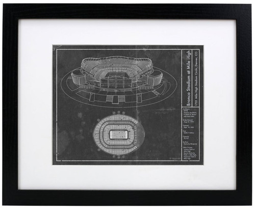 Bronco Stadium at Mile High - Denver Broncos Blueprint Poster