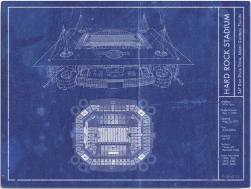Hard Rock Stadium - Miami Dolphins Blueprint Poster